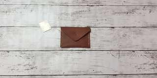 Small Brown Genuine Leather Wallet Envelope
