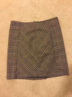 Plaid brown A-line skirt