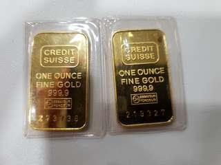 Credit Suisse 1 ounce gold bars (good condition!)