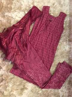 DARK pink punjabi suit (Three piece - HIGH QUALITY)