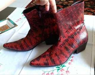 Red and black leather snakeskin boots