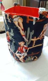 Bucket bag, western ladies print fabric