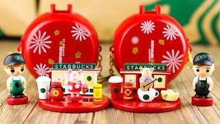 A set of 2 Starbucks China piggy cards with toys