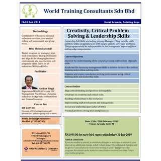 Creativity, Critical Problem Solving and Leadership Skills