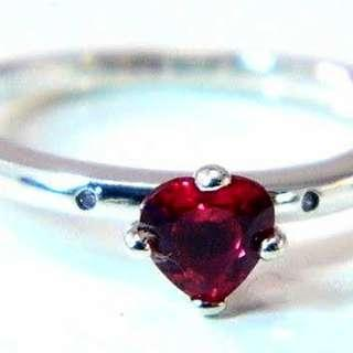 Authentic PANDORA Heart Ring Sterling Silver Red CZ 心型戒指 介子