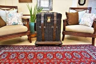 Black leather detailed wicker basket/chest