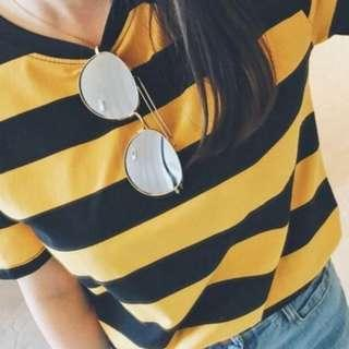 PO: Black and Yellow Striped T-Shirt