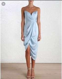 Zimmerman Blue Silk Plunge Dress