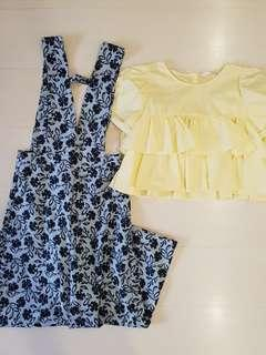 The stagewalk floral jumpsuit and Zara Yellow Top
