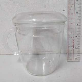 Transparent Glass Cup with Lid Cover