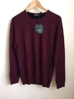 NEW TESTANTIN Men Wool Sweater Size 50, Burgundy
