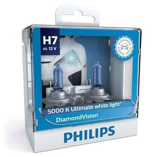 Philips Diamond Vision 12V Halogen Car Headlight Bulb 5000K H1 H4 H7 H8 HB3 HB4 H11