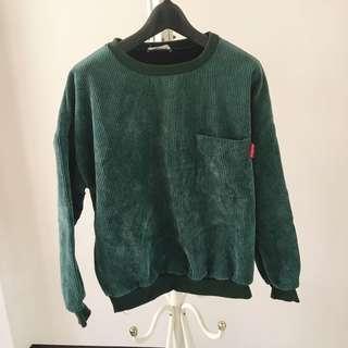 坑條直條加絨橄欖綠大學T衛衣#一百均價