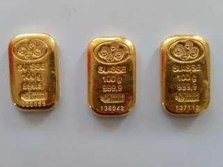 999.9 Pamp Suisse 100 grams fine gold bars (good condition!)