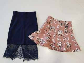🚚 BYSI floral skirt and TEMT lace midi skirt