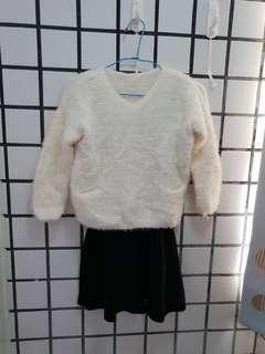 🚚 春秋冬海馬毛氣質仙女兩件式洋裝 背心裙+毛衣