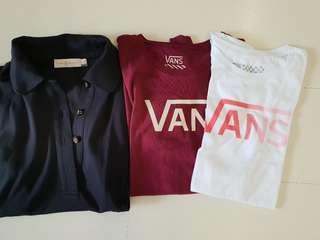 🚚 Tory Burch Polo T shirt and VANS T shirt for Ladies (both authentic)