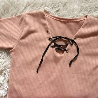 Cropped Tie Shirt in Salmon Pink
