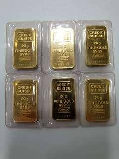 🚚 999.9 Credit Suisse 20 grams gold bars (good condition!)