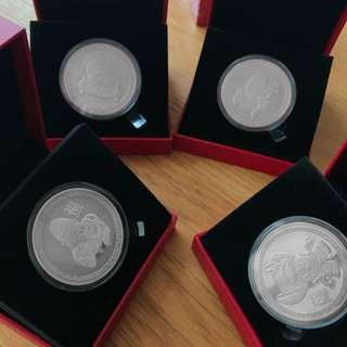 FULL SET 4PC MBS Marina Bay Sands 福禄寿财 Platinum Gold Silver Coin Collectible