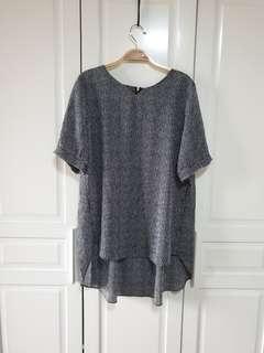 Long back striped blouse / top (Chiffon)