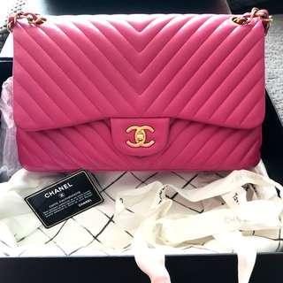 Chanel Hot Pink Chevron Jumbo