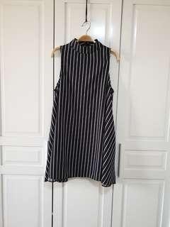 Halter Striped Black Dress with pockets