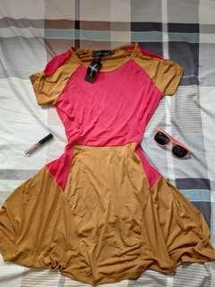 Geometric Deep Mustard Pink Skater Dress