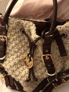 MK fabric, large handbag, with leather trimmings