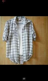 薄透格子罩衫#一百均價