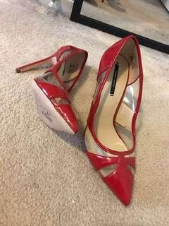Zara basic collection red high heels size 36