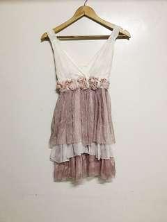 Cream & Old Rose Chiffon Dress