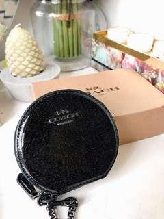 NWT COACH F30253 Black Glittery sparkle Leather Round Coin Case Space Starry