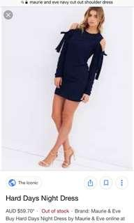 Navy cut out shoulder dress
