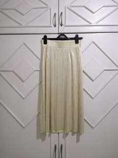 authentic topshop metallic midi skirt xs fit waist 26-27