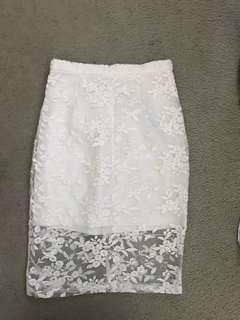 White lace high waisted pencil midi skirt  size 8