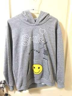 🚚 灰色笑臉刷毛帽t #一百均價