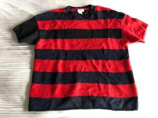 🚚 H&M Marni 100% cashmere red and black striped top