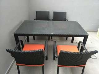 Outdoor weatherproof dining table with 4 chairs