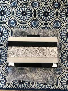 Acrylic Box Clutch (BN) - Black White Silver Glitter