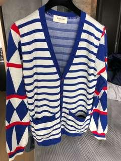🚚 W Dress Room blue and white striped Cardigan