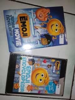 The Emoji Movie junior novelization and Emoji Encyclopedia