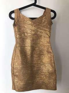Bandage dress gold