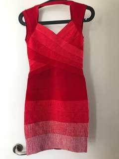 Bandage style red gradient dress