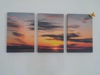 🚚 3 x 40x60cm Sunset Canvas