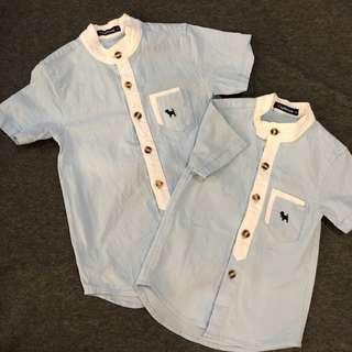 🚚 Matching Brothers / Boys No-Collars Blue Shirts