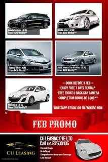 Cheap Car Rental - Gojek/Grab/Tada/Lalamove/Redmart/Personal
