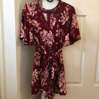 RED FLORAL PLAYSUIT / ROMPER