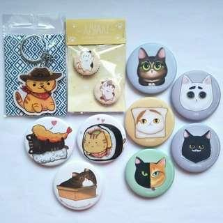 Cat theme Button Badges, Keychain Charms & Magnetic Bottle Opener #MFEB20