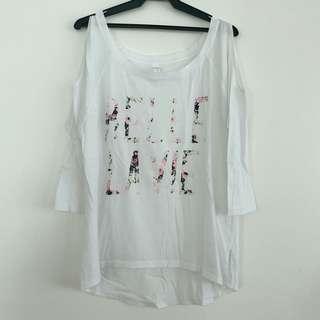 Authentic Jessica Simpson - White Cold Shoulder 3/4 sleeve (Belle La Vie)